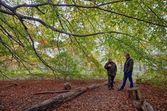 Natuurmonumenten heeft een nieuw stuk natuur erbij gekregen van de Efteling. Boswachter Lex Querelle (links) vertelt erover aan bezoekers.