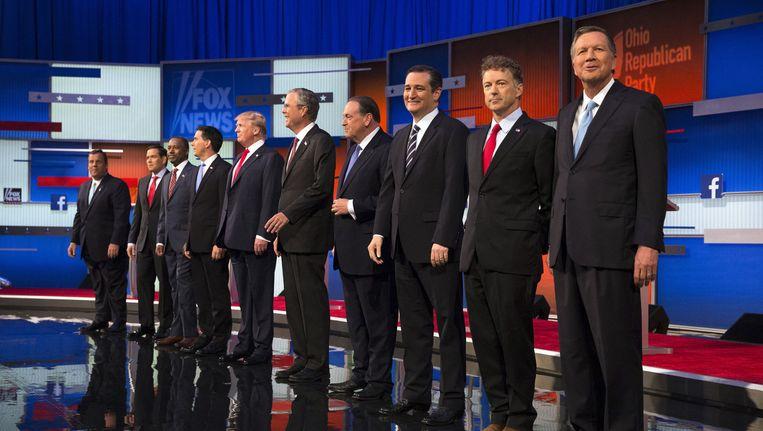 Op 6 augustus gingen de tien populairste Republikeinse presidentskandidaten voor het eerst in debat op televisie. Beeld AP