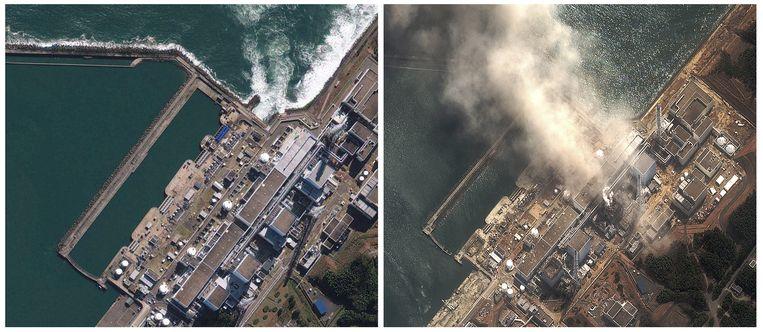 Het kerncomplex van Fukushima, voor en na de tsunami. Beeld AP