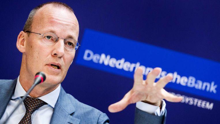 Klaas Knot, president van De Nederlandsche Bank, donderdagmorgen tijdens zijn persconferentie over het jaarverslag van de bank. Beeld anp