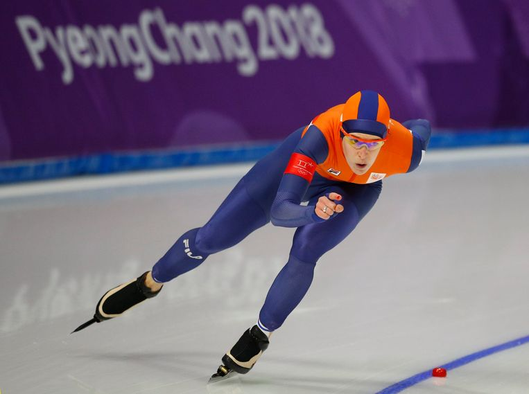 Ook Carlijn Achtereekte behaalde goud, op de 3.000 meter. Beeld Photo News