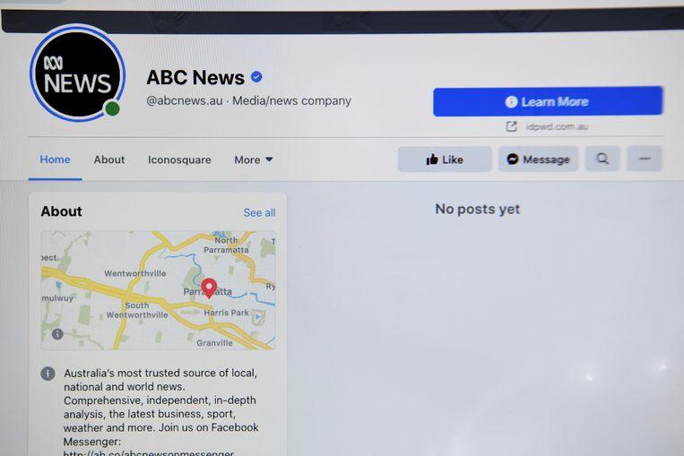 De Facebookpagina van ABC Australia zoals hij in Australië wordt weergegeven. Beeld REUTERS