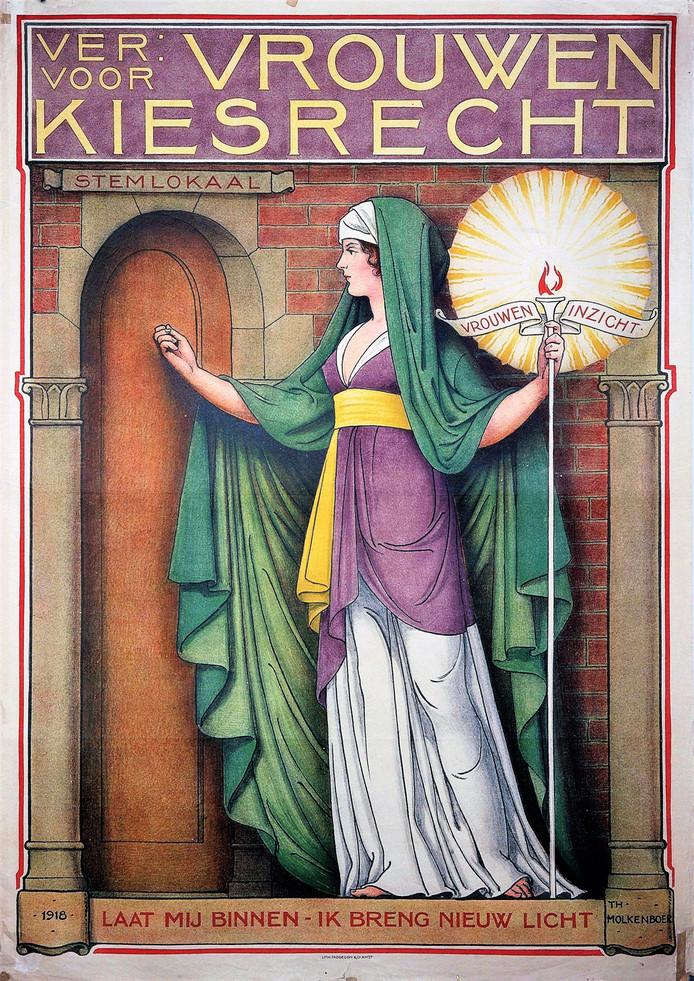 Affiche uit 1918 van de Vereeniging voor Vrouwenkiesrecht.
