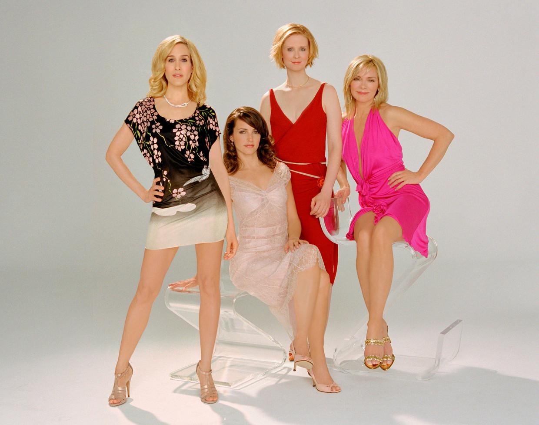 Het kwartet vrouwen dat tussen 1998 en 2004 Manhattan (en onze beeldbuis) bestormde. Het personage van Kim Cattrall (Samantha, rechts) zal er in de nieuwe versie niet meer bij zijn.  Beeld ANP Kippa