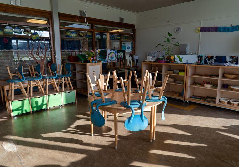 Een leeg klaslokaal op een basisschool in Den Haag. Beeld ANP