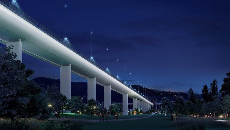 De nieuwe brug, een ontwerp van Renzo Piano, moet volgend jaar klaar zijn.