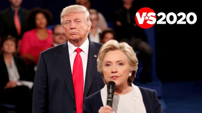 Hillary Clinton en Donald Trump tijdens een van de debatten in 2016.