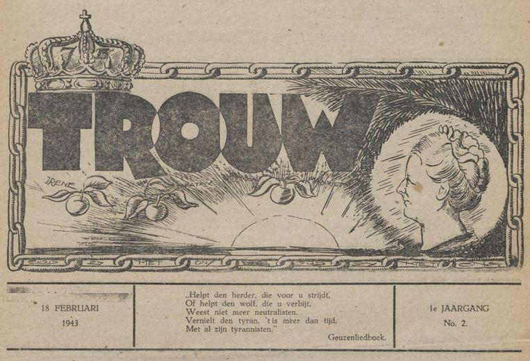Het logo van Trouw op de eerste editie van de krant op 18 februari 1943. Nummer 1 verscheen onder de naam Oranjebode. Beeld Trouw