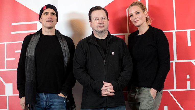 Matt Dillon, Lars von Trier en Uma Thurman en Lars von Trier. Beeld epa