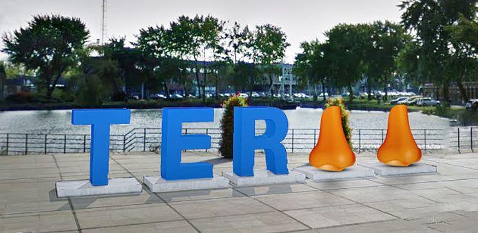 Zo moet het eruit komen te zien, het beeldmerk van Terneuzen aan de rand van het Stadhuisplein.