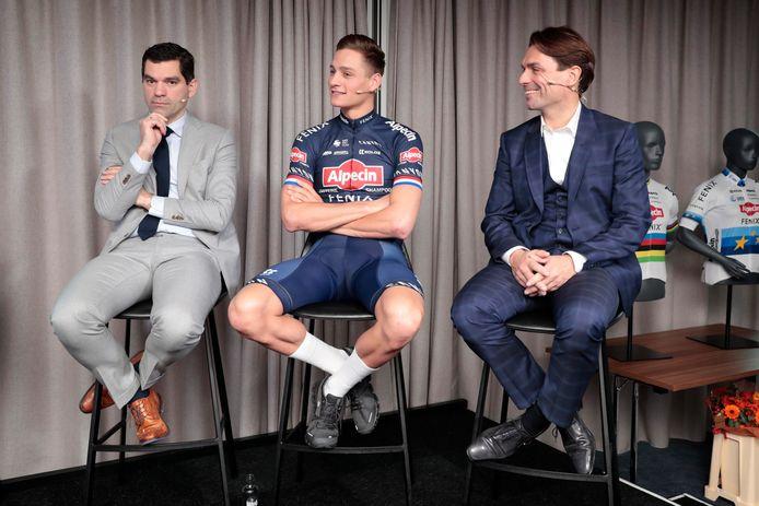Mathieu van der Poel tussen Philip (links) en Christoph (rechts) Roodhooft.