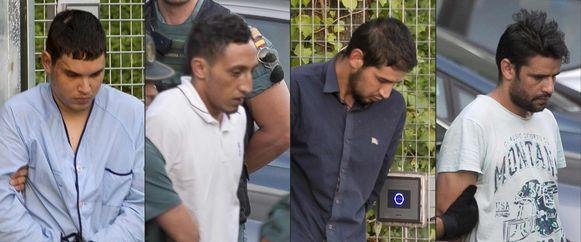 Mohamed Houli Chemlal, Driss Oukabir, Salah El Karib en Mohamed Aallaa bij hun voorleiding dinsdag.