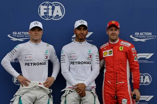 Bottas, polesitter Hamilton en Vettel