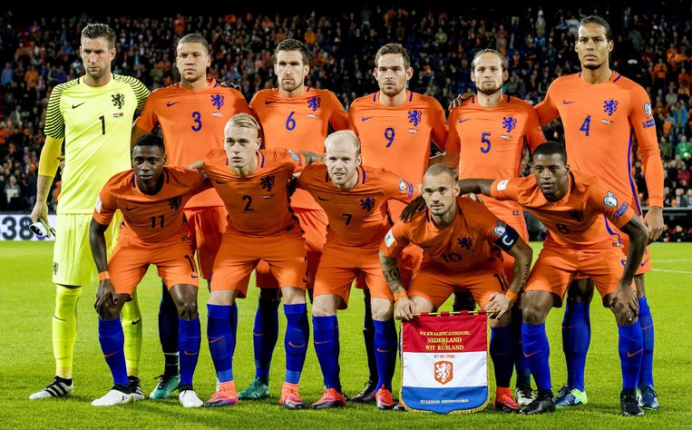 Het Nederlands elftal voor de wedstrijd tegen Wit-Rusland. Beeld ANP