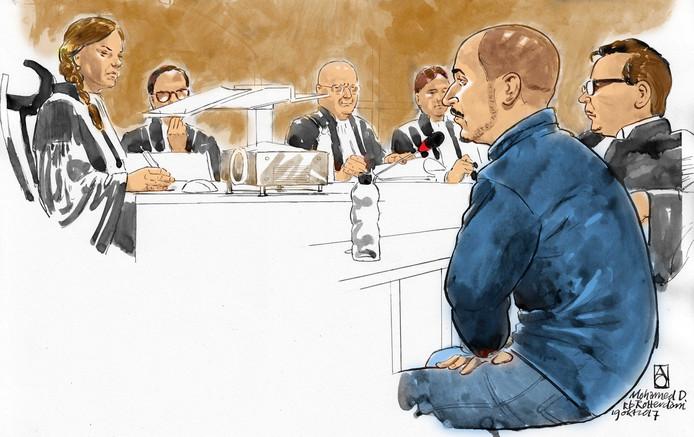 IS-kok Mohammed D. in de rechtbank.