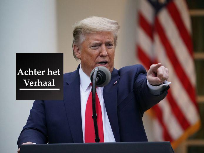 President Donald Trump eerder tijdens zijn dagelijkse persconferentie over het coronavirus.