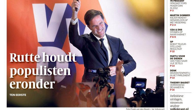 Voorpagina van de Volkskrant, donderdag 16 maart. Beeld