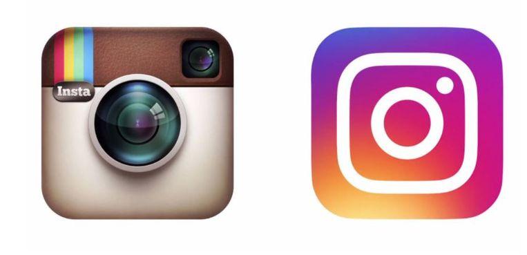 Het nieuwe (rechts) naast het oude icoontje van Instagram Beeld Instagram