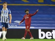 Salah helpt kampioen Liverpool aan zege bij Brighton
