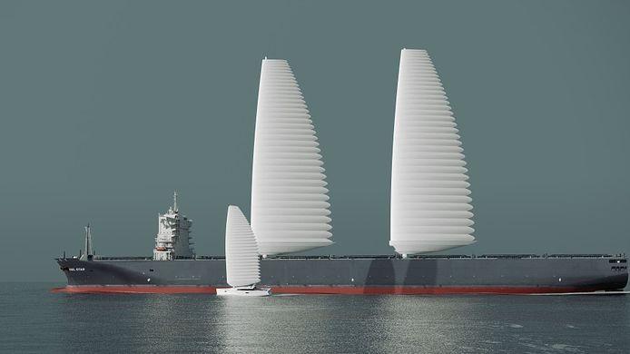 Les voiles peuvent être montées sur des cargos existants et fonctionnent alors avec le moteur du navire, réduisant ainsi la dépendance aux combustibles fossiles.