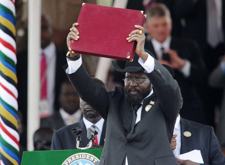 President Salva Kiir viert de onafhankelijkheid met de nieuwe grondwet, 2011. Beeld AFP