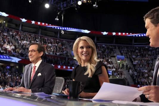 De moderatoren van het debat (L-R): Chris Wallace, Megyn Kelly en Brett Baier.