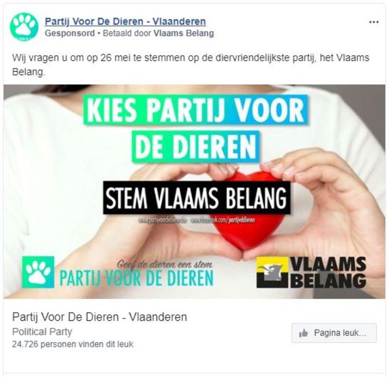 Een advertentie van de Partij voor de Dieren, betaald door Vlaams Belang.