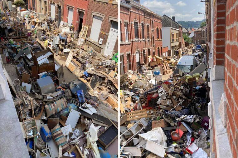 Enkele straten in het Luikse Chênée werden door de overstroming van de Vesder tot een vuilnisbelt herleid. Beeld RV