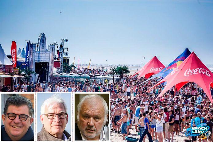 In Blankenberge worden nu al heel wat evenementen, zoals ook Beachland, geschrapt. Kustburgemeesters Bart Tommelein, Piet De Groote en Jean-Marie Dedecker kijken nog even de kat uit de boom.