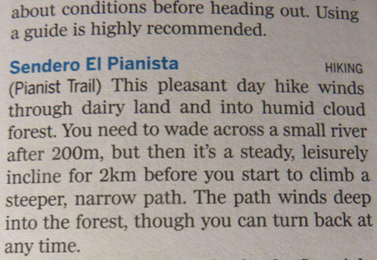 De tekst over de Pianista Trail in de Lonely Planet Beeld Volkskrant