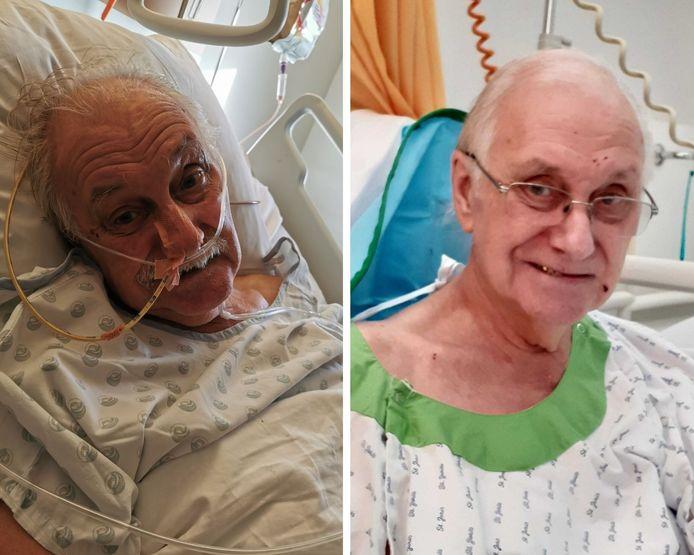 À gauche: Michel Baronville lorsqu'il séjournait à l'Hôpital Civil Marie Curie. À droite: Michel Baronville après qu'il ait été transféré au Grand Hôpital de Charleroi.