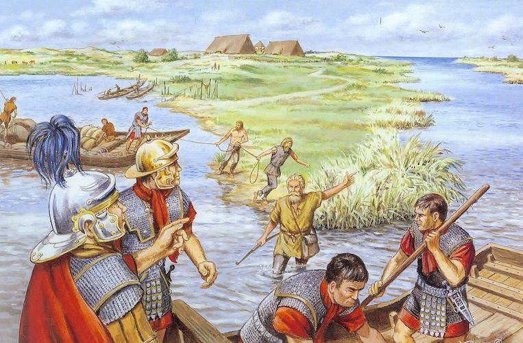 Het verhaal van de confrontatie tussen Romeinen en Friezen is in de jaren tachtig al eens verbeeld in de strip Malorix van Bert Bus. Beeld Bert Bus