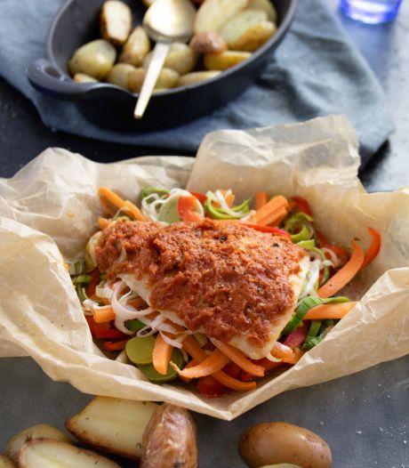 Wat Eten We Vandaag: Kleurrijk kabeljauwpakketje