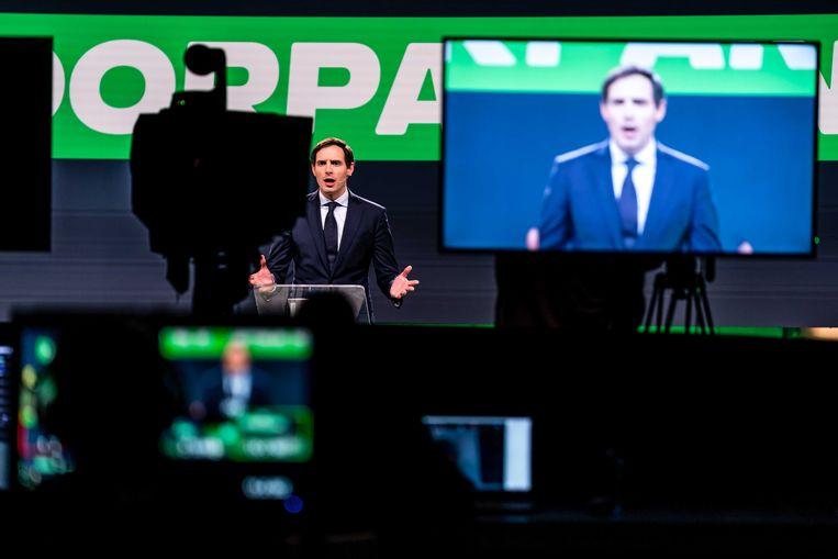 Lijsttrekker Wopke Hoekstra tijdens het partijcongres van het CDA, aan het begin van de verkiezingscampagne. Beeld ANP