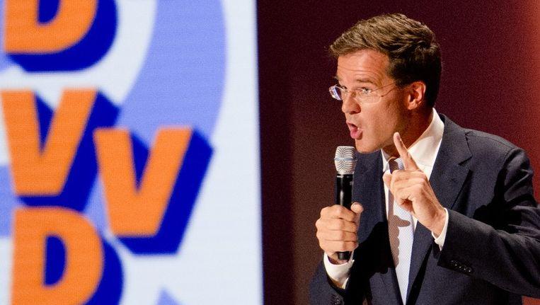 Mark Rutte voert het woord op het verkiezingscongres van de VVD. Beeld anp