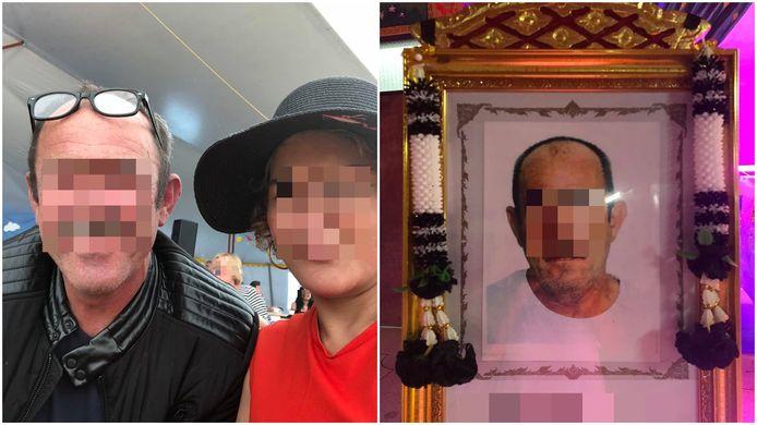 Patrick V. vluchtte samen met z'n Thaise partner (l) naar Thailand. Daar zou hij vorig jaar overleden zijn, zo moet een schrijn met zijn foto bewijzen (r).