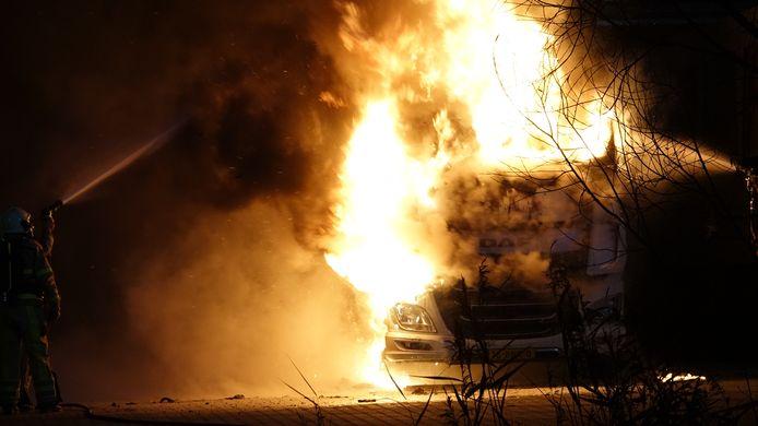 Vrachtwagenbrand in Hardenberg.