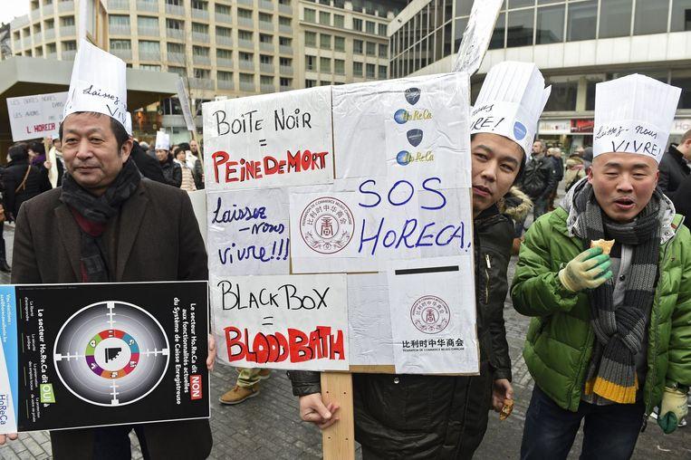 """De horecasector protesteerde op 27 januari voor een """"leefbare horeca""""."""