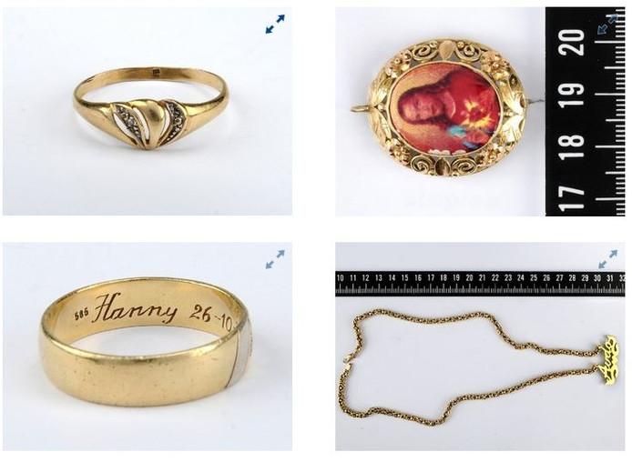 Enkele van de gestolen sieraden.