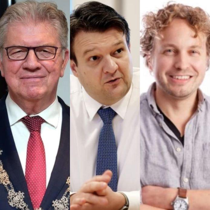 De burgemeesters van Bergen op Zoom (Petter, links) en Roosendaal (Van Midden, midden) kondigden aan nu écht te gaan samenwerken. Columnist Niels Herijgens (rechts) moest even grinniken.