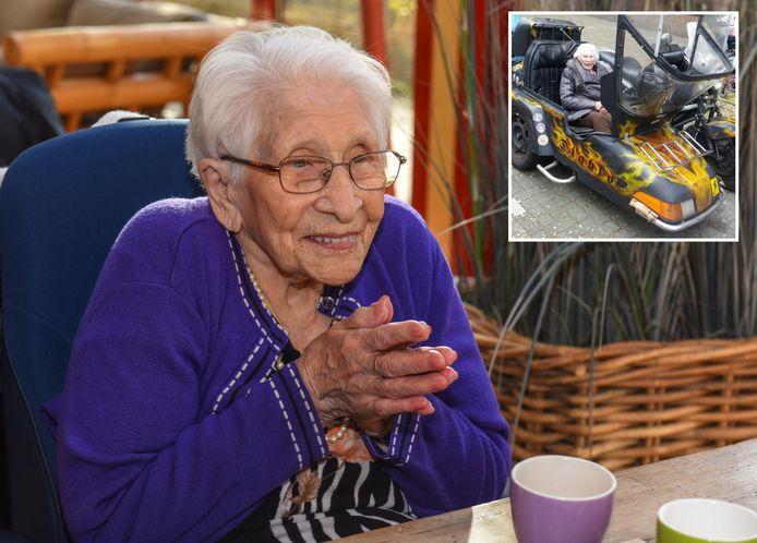 Lenie Paauwe was altijd vrolijk en ook avontuurlijk (op de kleine foto is ze bijrijder van een motor). Ze genoot met volle teugen van het leven.