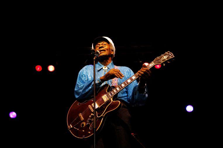Chuck Berry in 2008 in Amsterdam. Al 30, 35 jaar grossierde de voormalige rockster in redelijk waardeloze concerten. Beeld BELGAIMAGE