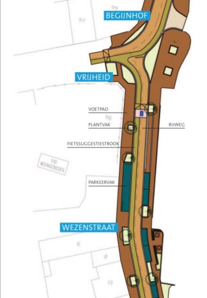 Het kruispunt van Wezelstraat - Vrijheid - Begijnhof wordt fietsvriendelijker gemaakt.