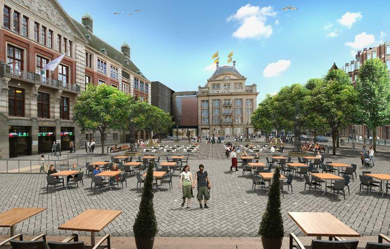 De artist impression van het toekomstige plein Beeld Gemeente Amsterdam