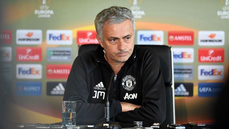 José Mourinho tijdens de persconferentie op 19 mei. Beeld afp