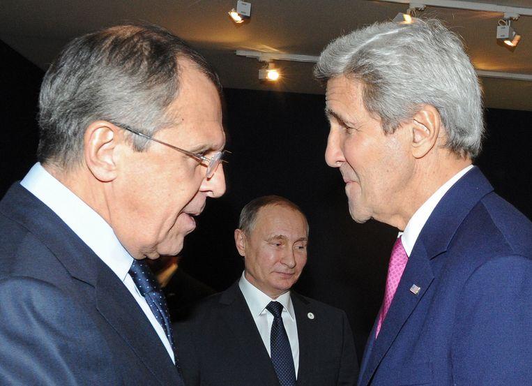 De ministers Lavrov en Kerry. Beeld AP