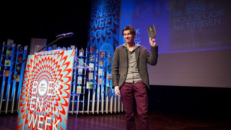 Schrijver van het boekenweekgeschenk Dimitri Verhulst bij de presentatie van de plannen voor de 80ste Boekenweek. Het thema is dit jaar Waanzin. Beeld anp