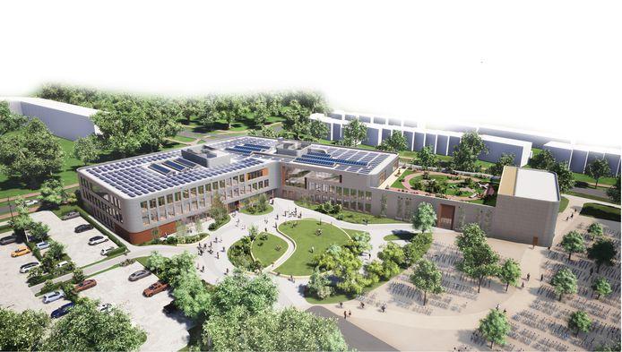 Artist's impression van de nieuwbouw van het Ashram College in Alphen, met rechts de daktuin, bovenop de gymzalen.