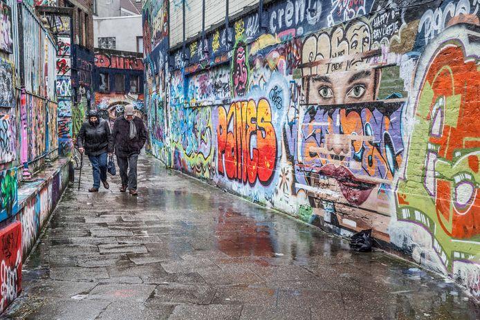 Zo zag het Graffitistraatje er vorige week nog uit