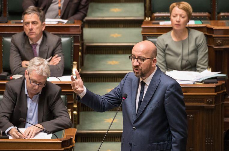Premier Michel vanmiddag in de Kamer. Beeld BELGA